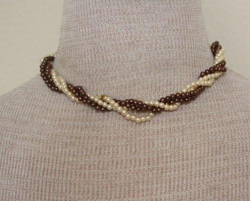 Vintage Brown & Cream Pearl Twisted / Torsade Necklace