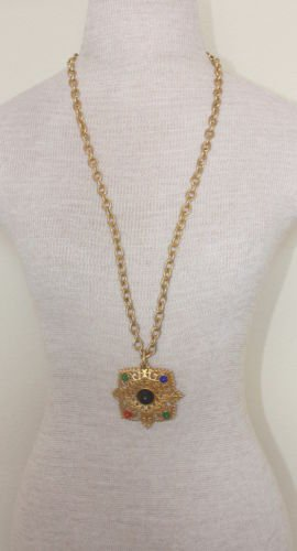 Vintage Chunky Gold Chain & Pendant Statement Necklacke
