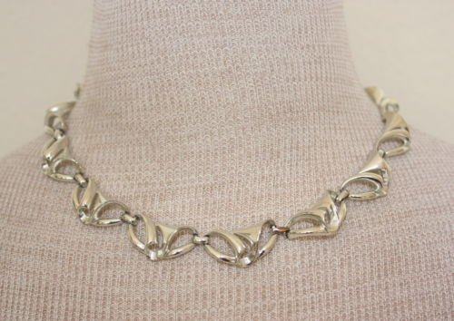 Vintage Coro Siver Tone Link Choker Necklace
