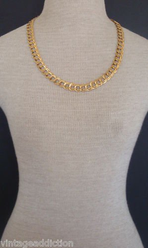 "Vintage Wide Gold Chain 24"" Long  Necklace"