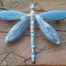 Vintage Blue Enameled Rhinestone Dragonfly Pin /Brooch