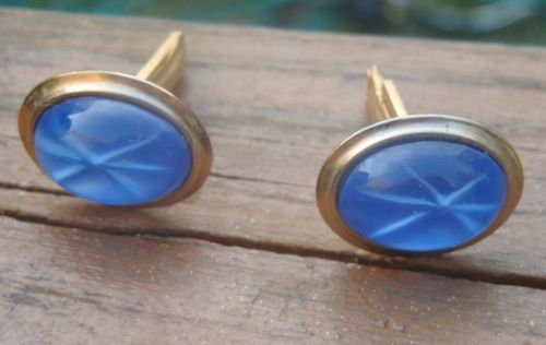 Vintage Blue Glass Cuff Links