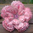 Vintage Pink Carnation Enameled Rhinestone Pin/Brooch