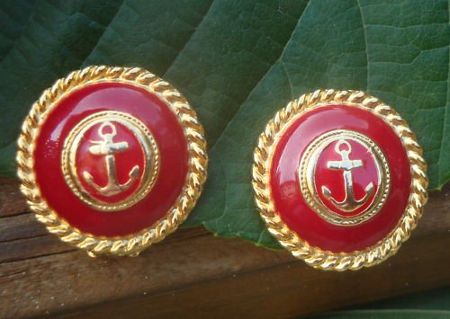 Vintage Red Enamel Anchor Clip Earrings 1980s