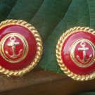 Vintage Red Enamel Anchor Clip Earrings 1980s