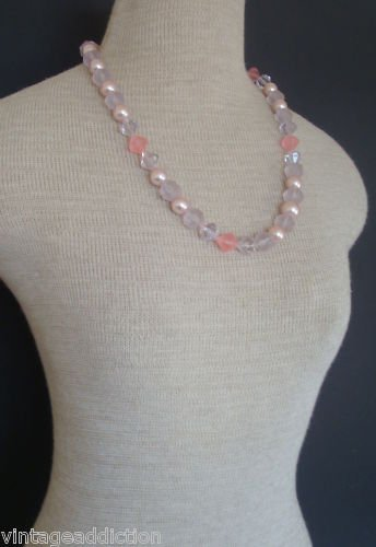 Cute Vintage Faceted Pink Pearl  & Crystal necklace