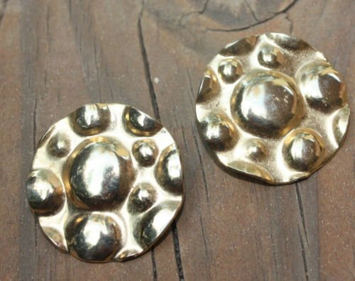 Vintage Gold Hammered Chunky Pierced Earrings 1980s