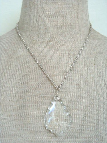 Vintage White Clear Glass Chunky Pendant Chain Necklace