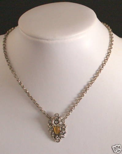 Lovely Rhinestone Brown Glass Necklace/Pendant
