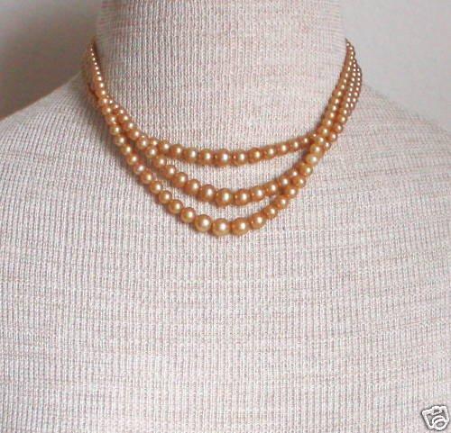 Vintage Art Deco Multi Strands Pearl Necklace Sterling
