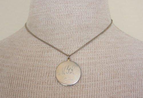 Vintage Initial MJR Pendant Chain Necklace