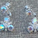 Vintage Aurora Borealis Rhinestone Dangle Earrings