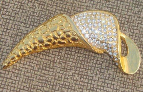 Vintage Curvy White Rhinestone Statement Pin/Brooch