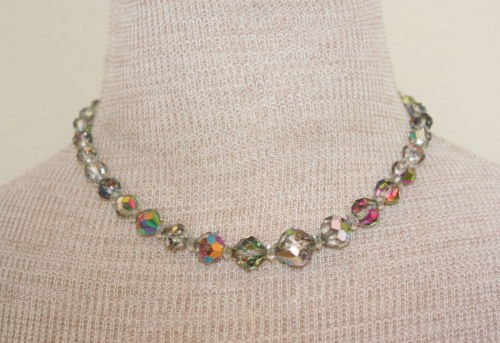 Vintage Laguna Aurora Borealis Glass Choker Necklace