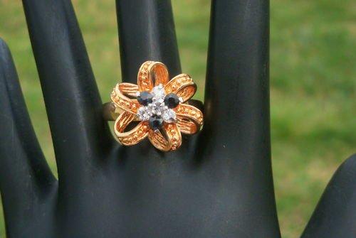 Vintage Golden  Ribbon Rhinestones Size 9