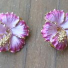 Lovely Vintage Purple Enamel Flower Ruccini Earrings