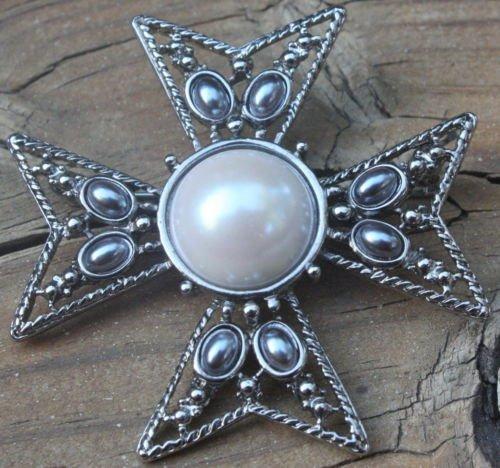 Vintage Signed JF Gray Pearl Maltese Cross Pin Brooch