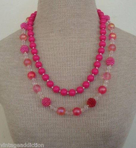 2 Vintage Pink Plastic  Lucite Fruit Fancy Necklace