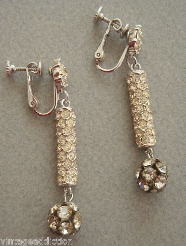 Vintage Rhinestones Ball Long Drop Earrings Pat.Pending