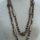Vintage Art Deco Double Long Strand Necklace Chunky