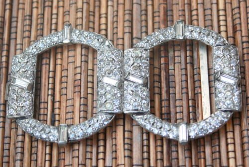 Vintage Art  Deco White Rhinestone Belt Buckle