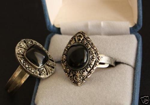 Vintage His&Her  Black Onyx  Rings Adjustable Unique