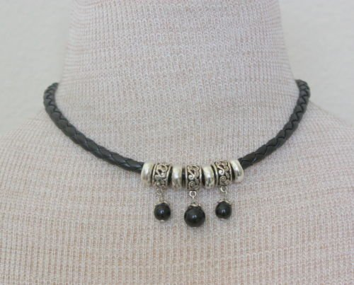 Chunky Choker Necklace & Earrings Set On Black  Leather