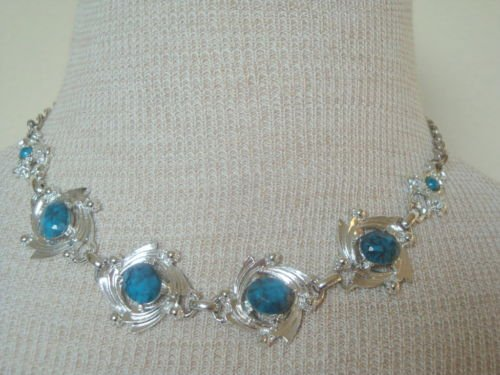 Vintage  Chrome BlueTurquoise Necklace Earrings Set