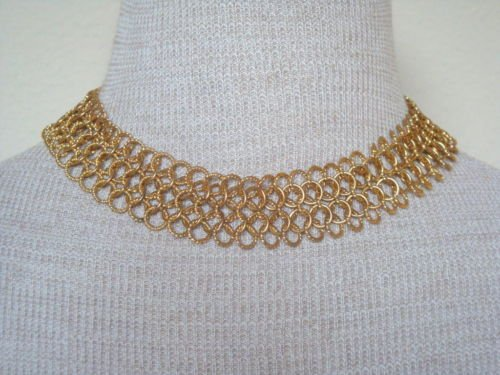 Vintage Interlinked Gold Tone Wide Chain Necklace