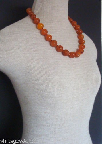 Vintage Art Deco Butterscotch Chunky Bead Necklace