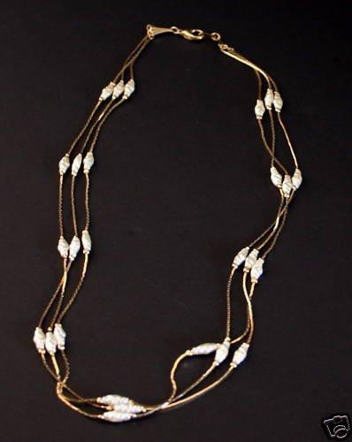 Vintage Multistrands Baroque  Faux Pearl Necklace Korea