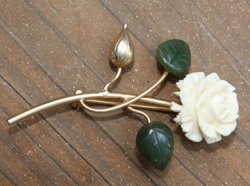 Vintage 12 KT Celluloid Leaves & Faux Ivory Pin Brooch