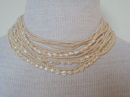 Vintage Elegant Cream Faux Pearl Multi Strands Necklace