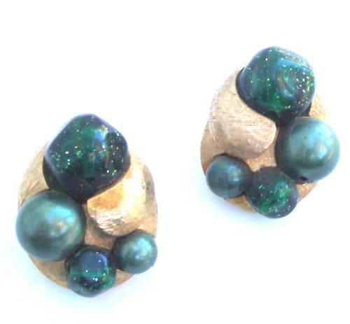 Vintage Signed ART Green Glass Clip On Earrings