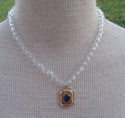 Vintage Victorian Revival White Glass Pendant Necklace