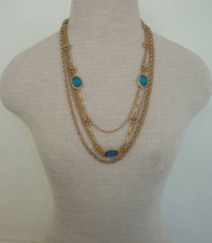 Vintage Multi Layer Chain Glass Older Necklace