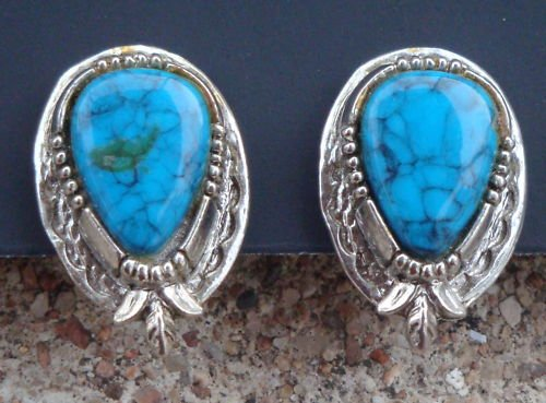 Vintage Signed ART Blue Turquoise Clip Earrings
