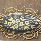 Beautiful Vintage Golden Enamel Filigree Pin Brooch