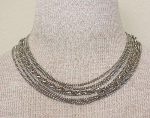 Vintage Silver Tone Multichain / Tiered Necklace