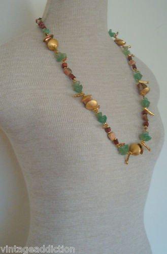 Miriam Haskell Green Aqua  MOP Necklkace Earring Set