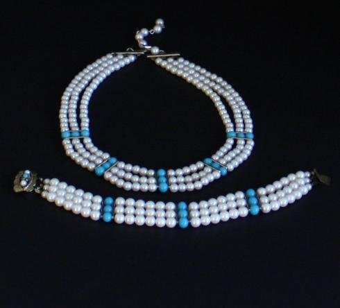 Vintage White Blue Choker Necklace Bracelet  Set Japan