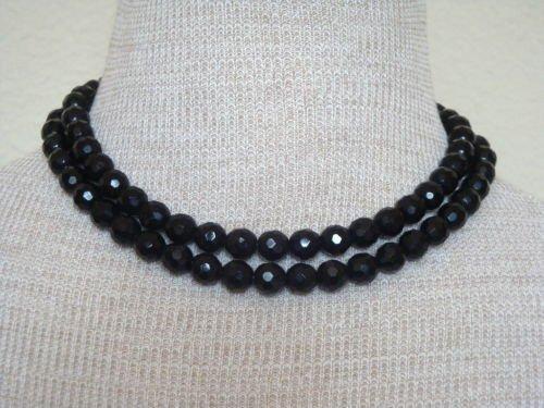 Vintage Black Glass Rhinestone Two Strands Necklace