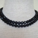 Vintage Black Glass Rhinestone Two Strands Necklace