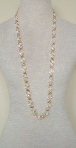 "Vintage White Crystal Glass 37"" Long Strand necklace"