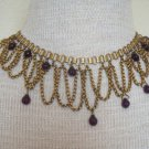 Vintage Victorian Book Chain Bib  Necklace