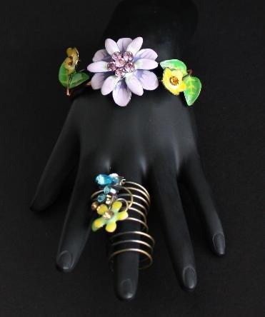 Vintage Green Purple Rhinestone Hinged Bracelet Ring
