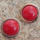 Vintage Bergere Red Enamel Button Earrings