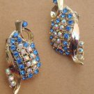 Vintage Blue Rhinestones Clip Earrings
