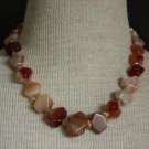 Vintage Chunky Plume Agate Stone Necklace