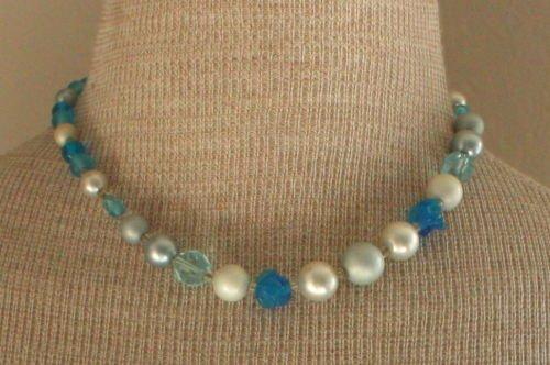 Vintage Blue Art Glass Necklace/Pendant Japan